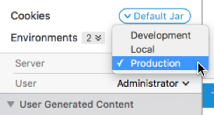 Paw's Environment Switcher changes variables with just a couple of clicks.