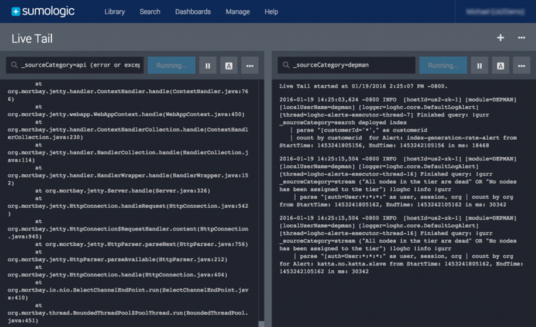 Live tail of nginx log in Sumo Logic
